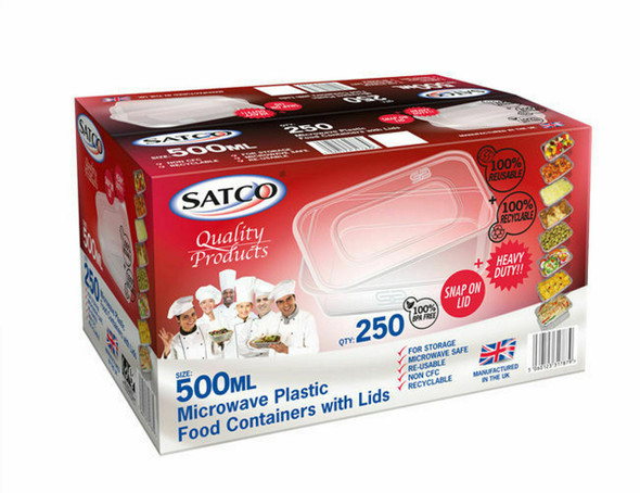 Satco Microwave Container & Lid [500ml] (a pack of 250)