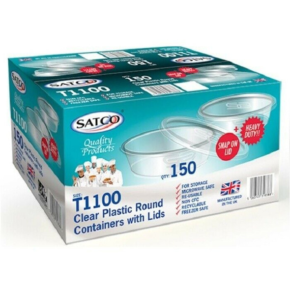 Satco Round Microwave Containers & Lids [T1100] (a pack of 150)
