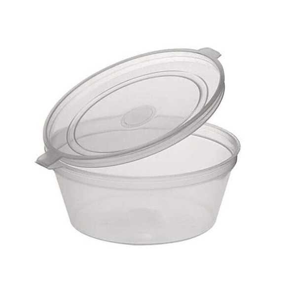Deli pots / Sauce pots,  Hinged Plastic Container Round Clear 1 oz Portion (a pack of  1000)