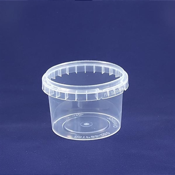 Tamper-proof [280ml] Clear Round Containers & Lids (a pack of 500 set)