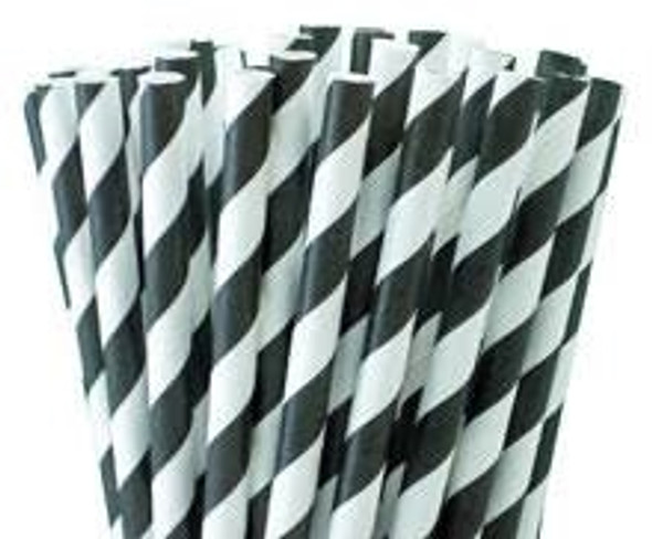 Biodegradable Black and White Stripe Paper Straw 205mm x 7mm (a pack of 500)