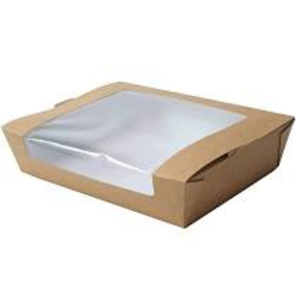 Large Laminated Cardboard Hinged Tray Brown Salad Container