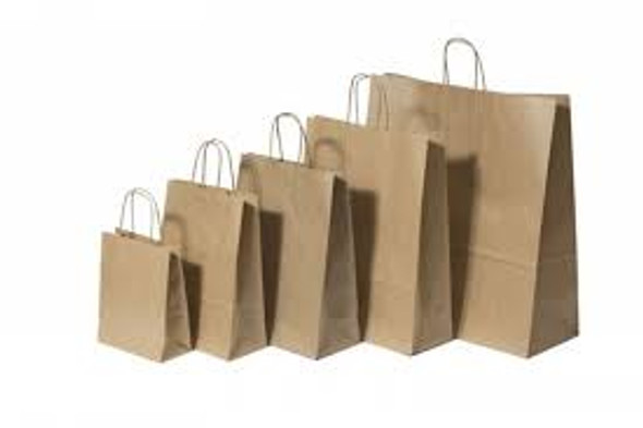 Ribbed Kraft Paper Bag Twisted Handle XX large Wide  380X380X250( a pack of 200)
