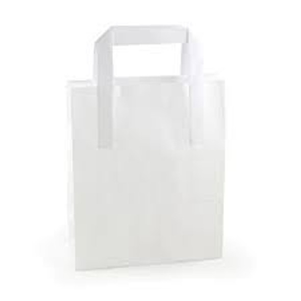 SOS White Plastic Carrier Bag Medium] [8.5x13x10inch] (a pack of 250)
