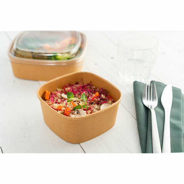 Sabert Square food Bowl kraft recyclable microwavable  500cc / 16ozPAP14012PE just base (packs of 300)