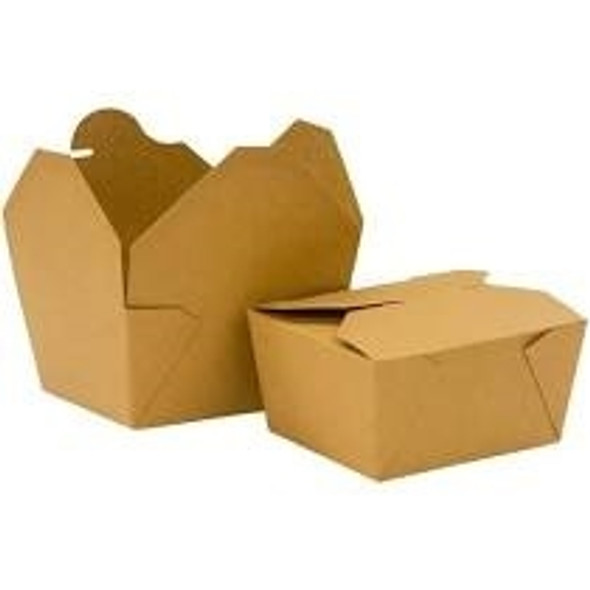 Brown biodegradable Leakproof Paper Meal Box No.1 26oz (750ml) [120x108x65mm] (a pack of 450)