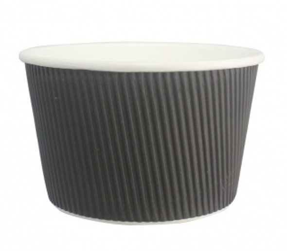Go-Pak Ripple Black Soup Container [16oz] (560ml) (a pack of 250)