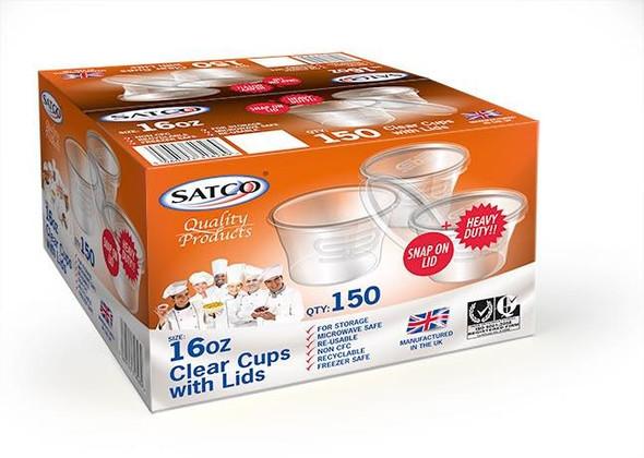 Satco 16 oz Round Plastic Pots & Lids 'M16' (a pack of 150 sets)