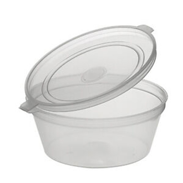 Deli pots / Sauce pots, Hinged Plastic Container Round Clear 2 oz Portion (a pack of 1000)