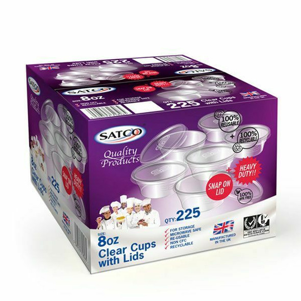 Satco 8oz Round Plastic Pots & Lids 'M8' (a pack of 225 sets)