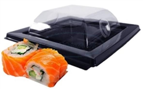 GPI Black Sushi Tray & Lids (RAV091N) 105x105x47mm (a pack of 400)