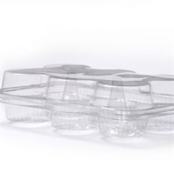Somoplast 672 Clear Hinged 3 compartment Oval Container (a pack of 500)