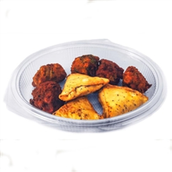Somoplast [971] 1 Compartment 600 cc Oval Clear Hinged Container (a pack of 300)