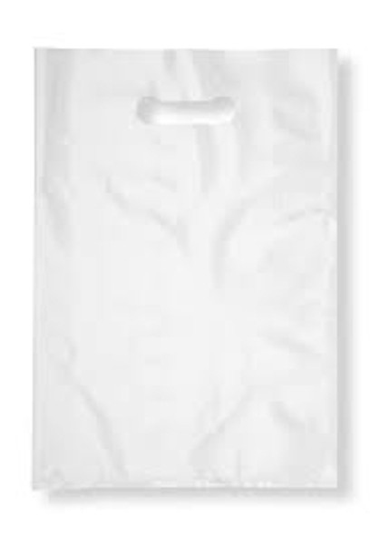 White Plastic Patch Handle Bag Swayze [15x18+3inch](a pack of 500)