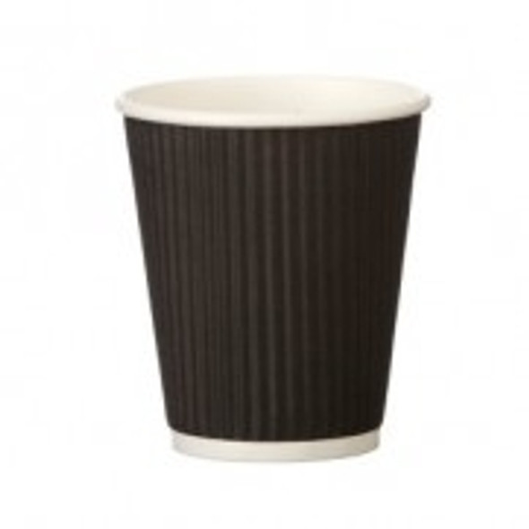 Ripple Black Paper Cup Hot [8oz] (a pack of 500)