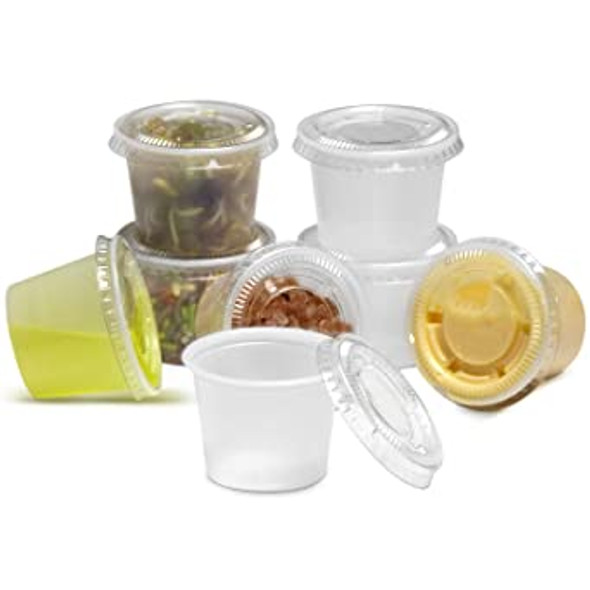 Somoplast plastic sauce pot 1oz and lid 1oz. (a pack of  500 Lid and Base)