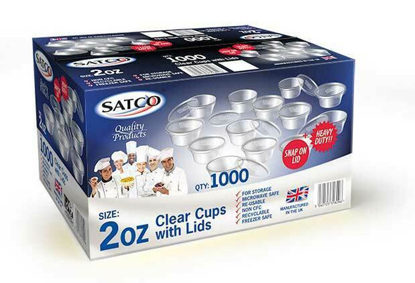 Satco [2oz] Round Container and Lid (a pack of 1000 Sets)