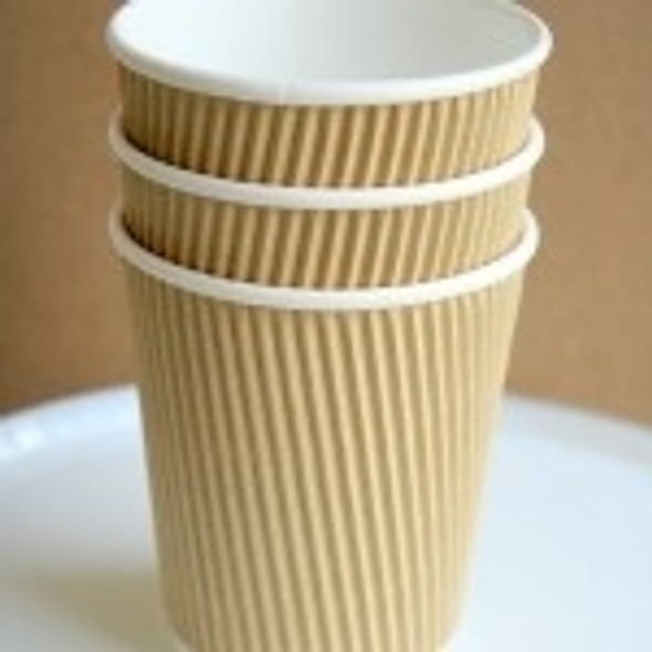 Ripple Kraft Paper Cup Hot [12oz] (a pack of 500)