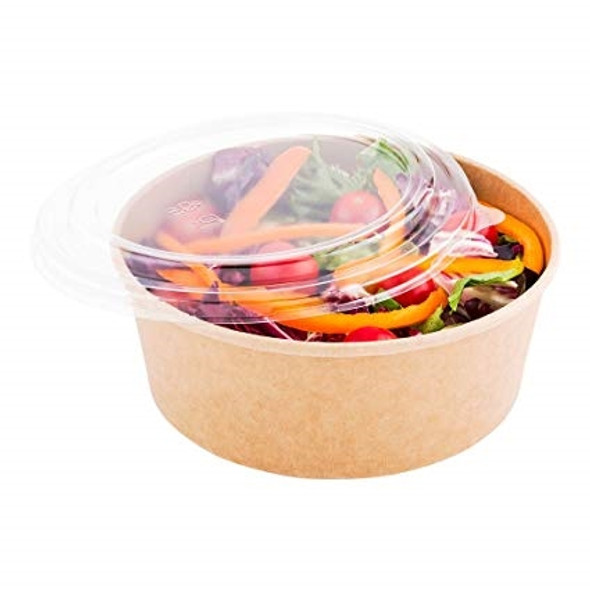 Plastic PP Lids for Paper Kraft Food Bowl 1250cc , 42oz Suitable for Hot food (and cold fooda pack of 360)