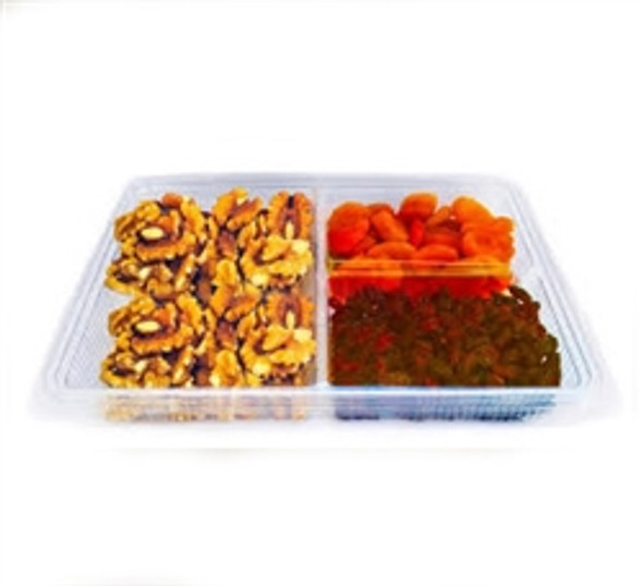 Somoplast 752 Clear 3 Compartment Hinged Large Rect. Container (a pack of 200)