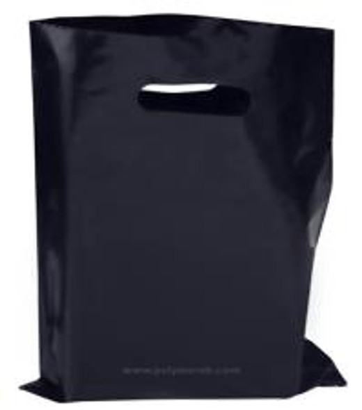 Black Plastic Patch Handle Bag [15x18+3inch](a pack of 500)