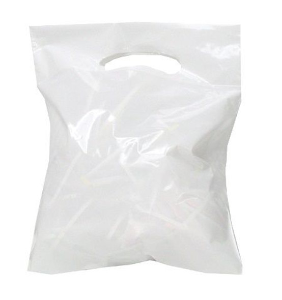 White Plastic Patch Handle Bag [10x12+4inch] (a pack of 1000)