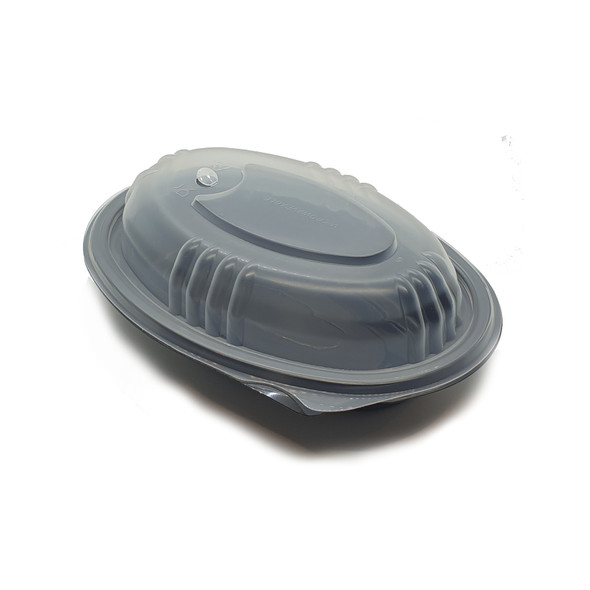 Somoplast 754 Oval Black Microwavable Container 500 cc (a pack of 250)