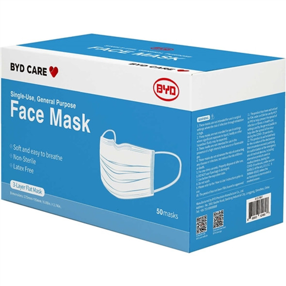 BYD 3PLY Single Use Medical Face Mask, (pack of 50)