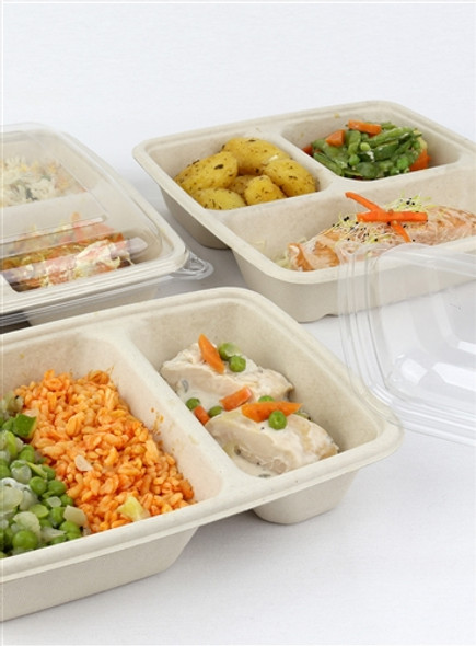 Sabert PP lids for Hot Food 3 Comp. Large Square Pulp Container PUL51901F300PP (a pack of 300)