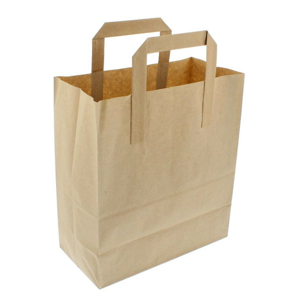 Brown Paper Carrier Bag Large [10x5.5x12 inches ] (a pack of 200)