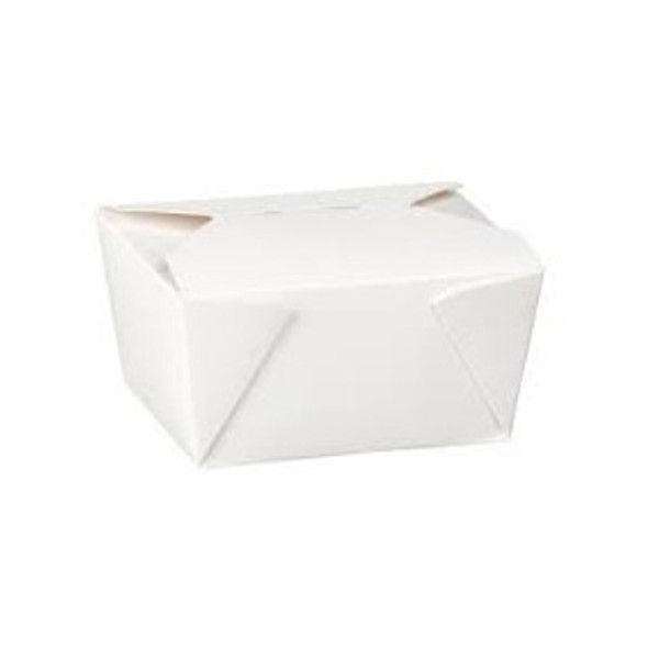 White biodegradable Leakproof Paper Meal Box No 8 (46oz) [172x134x65mm] (a pack of 250)