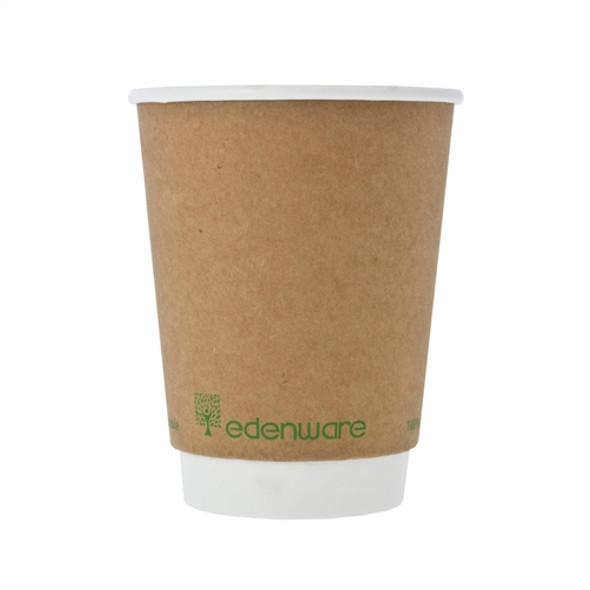 8 oz Biodegradable and Compostable Kraft Hot Drink Double Wall Paper Cup (a pack of 500)
