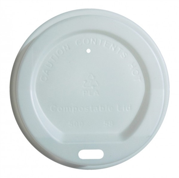 White Compostable Lids to fit 12/16oz Compostable Hot Cups (a pack of 1000)