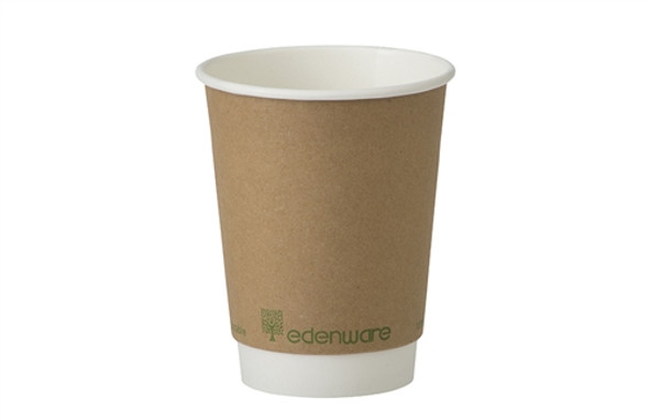 12oz Biodegradable and Compostable Kraft Hot Drink Double Wall Paper Cup (a pack of 500)