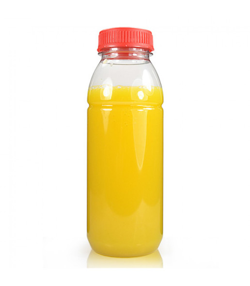 Clear Round Juice Bottle [250ml] with white caps (a Pack of 228 set)