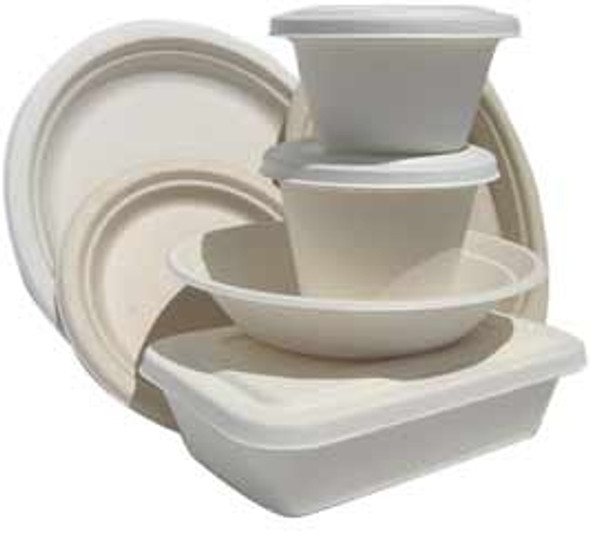 Bagasse Disposable, biodegradable 3 Comp plate10 inch(a pack of 500)