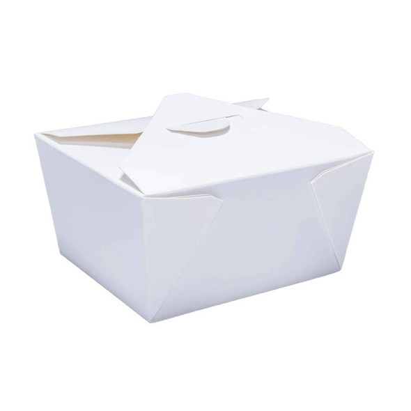 White biodegradable Leakproof Paper Meal Box No.1 26oz (750ml) (a pack of 500)