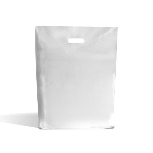 White Plastic Patch Handle Bag [12x12+4inch] (a pack of 1000)
