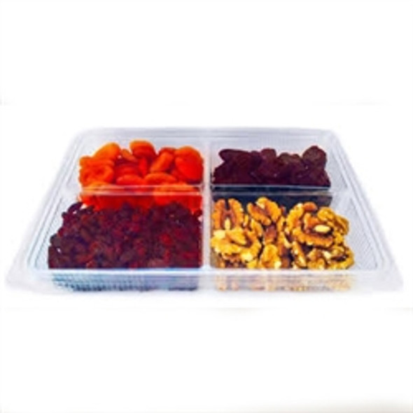 Somoplast 753 Clear 4 Compartment 1000cc Hinged Rect. Container (a pack of 200)