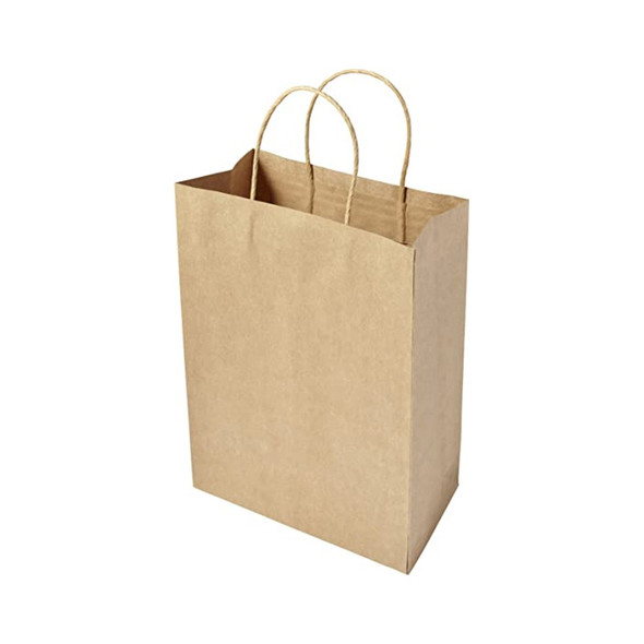 Ribbed Kraft Paper Bag Twisted Handle Med 180x80x240 ( a pack of 250)