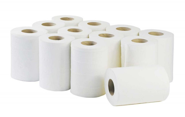 White Mini C-feed Hand Towel 2ply [65m] (a pack of 12 Roll)