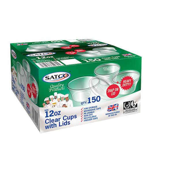 Satco 12oz Round Plastic Pots & Lids 'M12' (a pack of 150 sets)