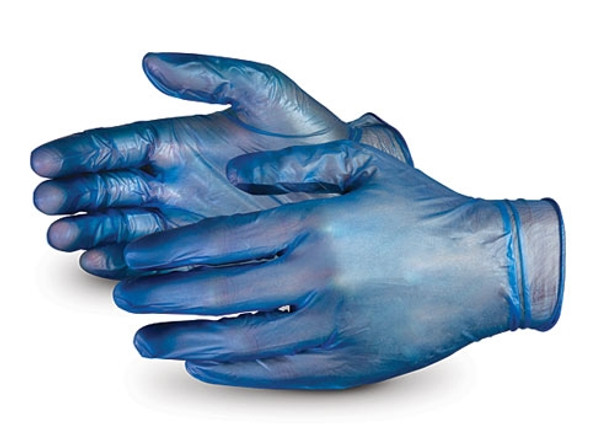 Vinyl Gloves [Large] Blue Powdered (a pack of 100)