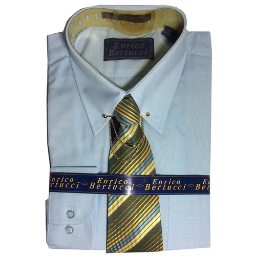 Enrico Bertucci Long Sleeve Dressing Shirt and Tie Set