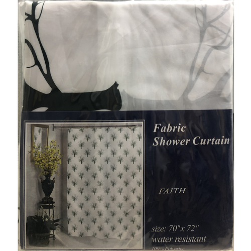 Faith Water Resistant Fabric Shower Curtain by Carnation Home