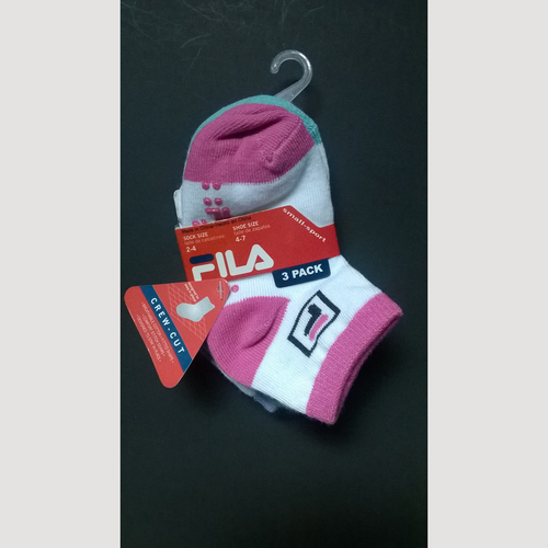 FILA Girls 3 Pack Crew Cut Socks 2-4 Years