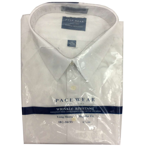 Pace Wear Men's Long Sleeve White Shirt 18 1/2