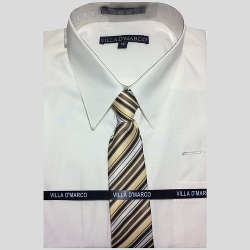 Villa D'Marco Youth Size Dress Shirt and Tie Set