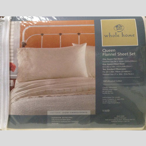 Whole Home brushed cotton flannel Ivory queen size sheet set