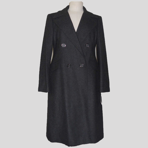ABS Allen Schartz winter collection long charcoal women's trench coat